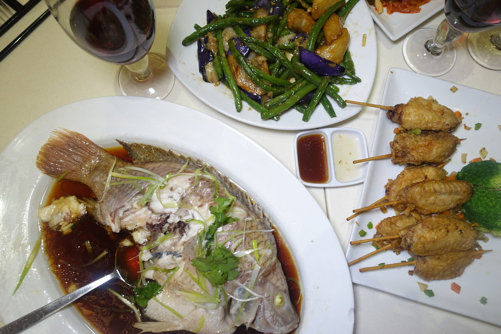 Entrées paired with 2013 Domaine Cheysson Chiroubles Clos des les Farges or 2011 Domaine des Billards Beaujolais- Steamed Whole Fish, Di San Xian Eggplant, Potato, String Beans, Peppers, Fried Chicken, Spicy Pickled Cabbage
