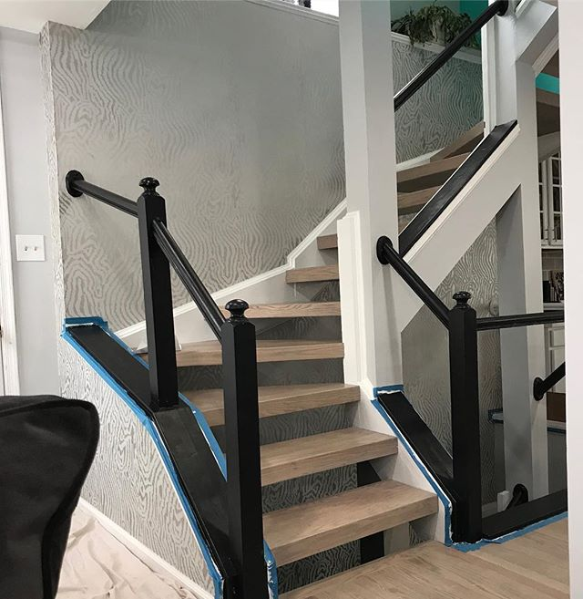Cable rails going in next! Finally wrapping up this awesome renovation! #cablerailing #stairs #interiordesign #homeinspo #floatingstairs #dcdesigner #designedtosell #wallpaper #lightfloors