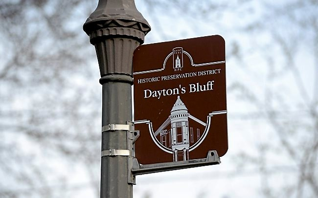 A historical preservation district marker at the corner of Maria and East Fourth Avenue of St. Paul's Dayton's Bluff neighborhood. (Pioneer Press: Sherri LaRose-Chiglo)