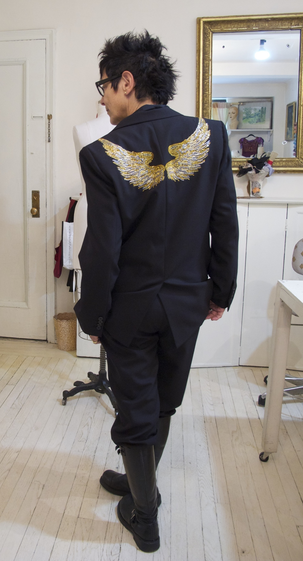 "Elizabeth Streb in wool gabardine ""Wing"" suit"