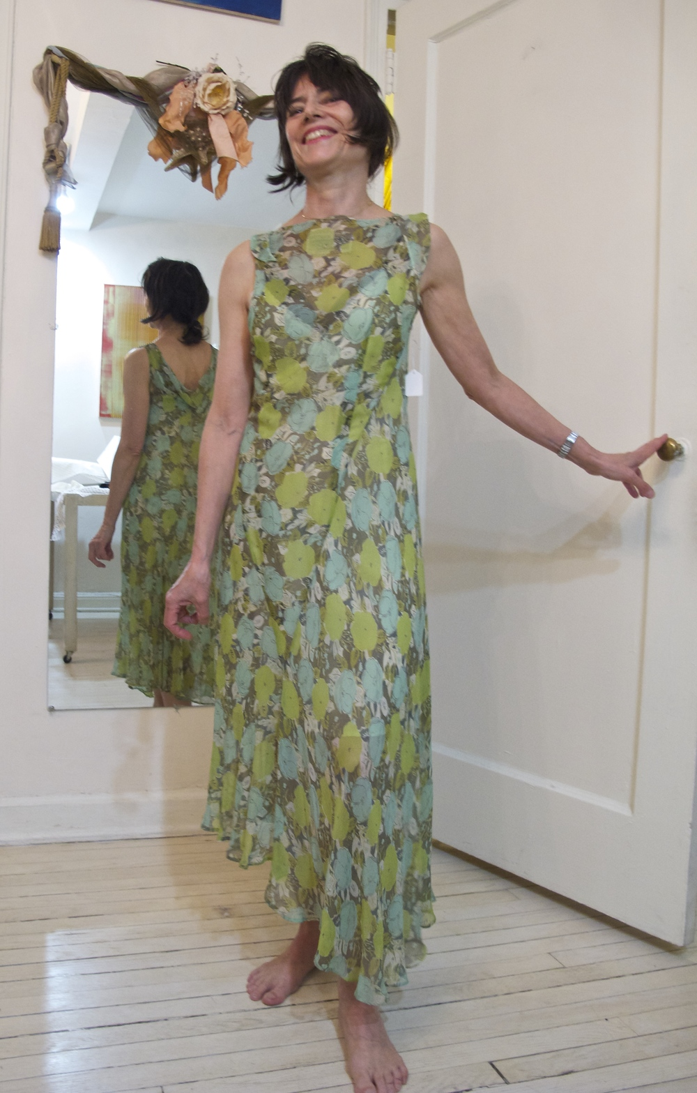 Flowered Chiffon dress worn by Mary Jones as wedding guest