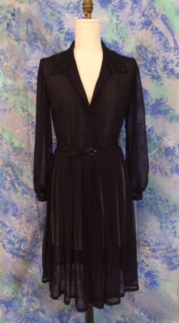 Black chiffon dress with beaded collar