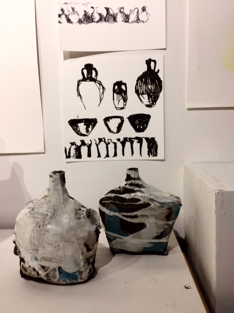 Pots and drawings by Devin Dougherty