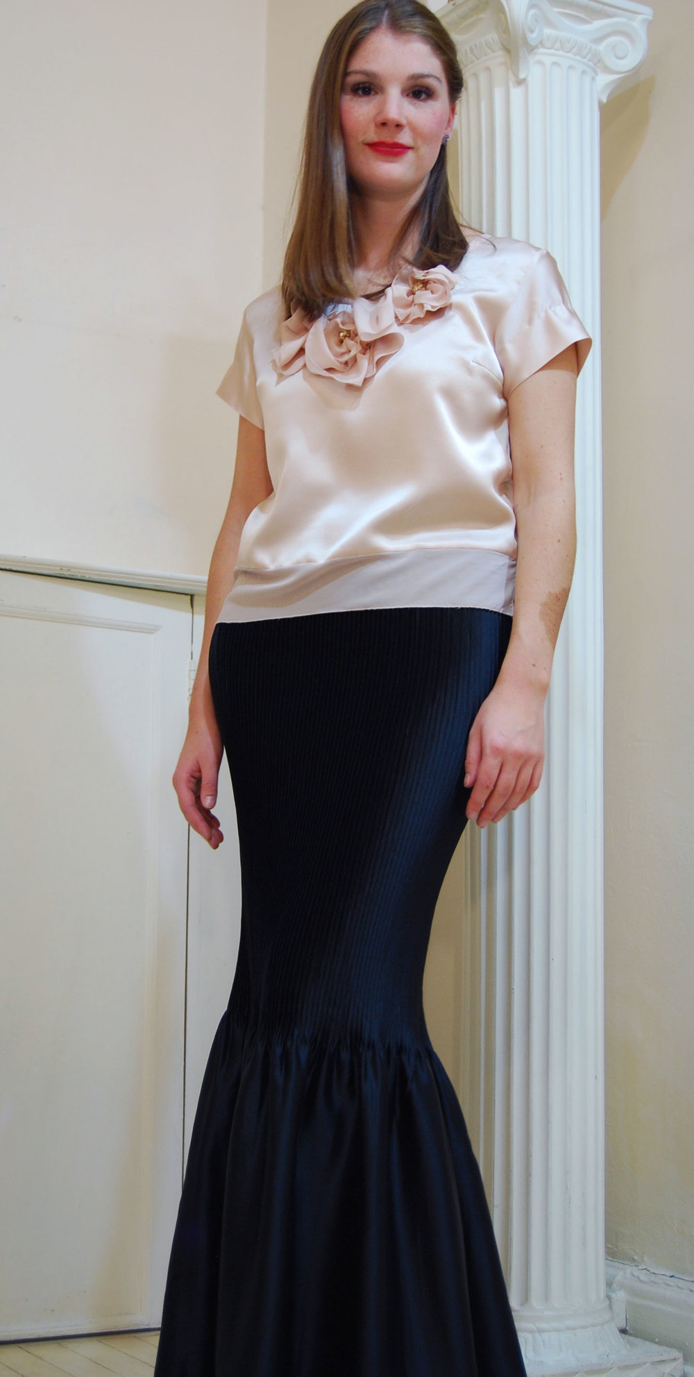 silk charmeuse top with silk flowers and chiffon band- poly plissé skirt