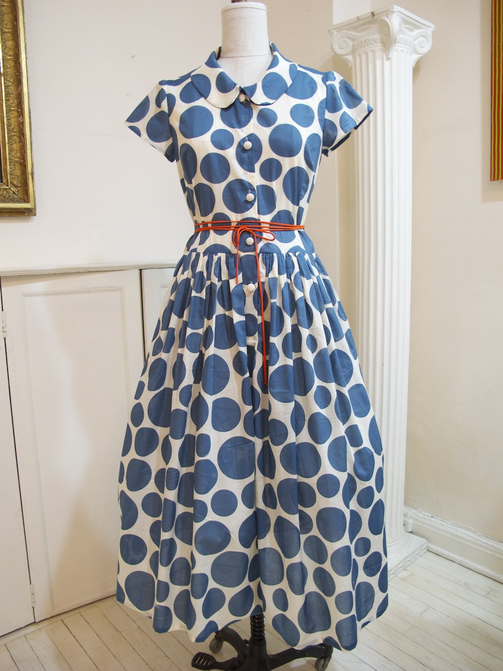 cotton voile polka-dot print shirt dress with fabric cord tie belt - sold