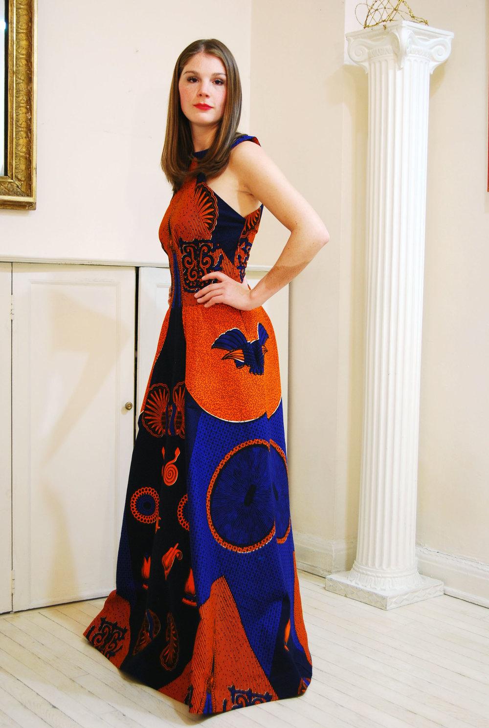 halter-neck cotton wax-print dress - sold