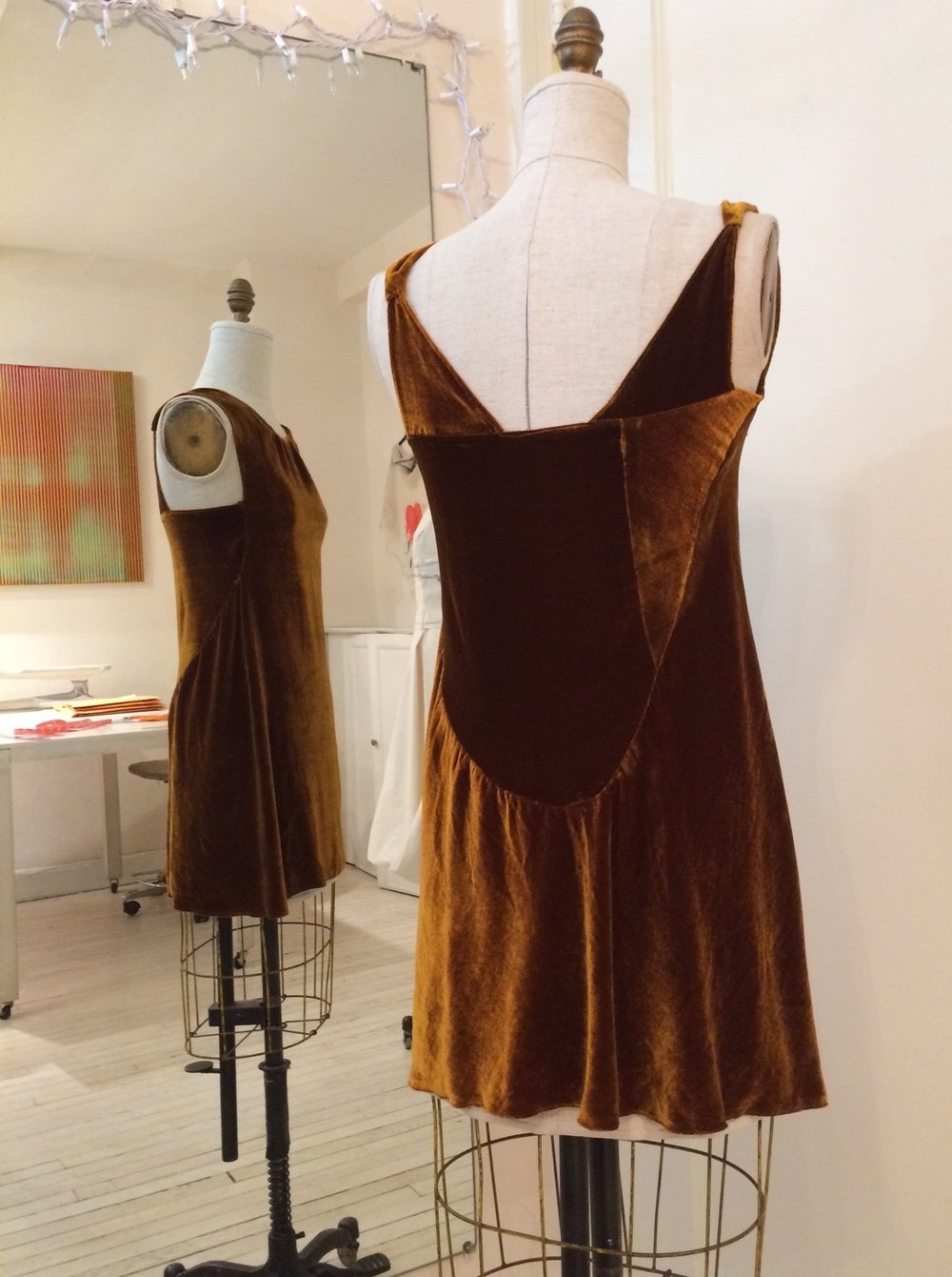 Amber velvet silk and Rayon dress draped and made from leftover pieces