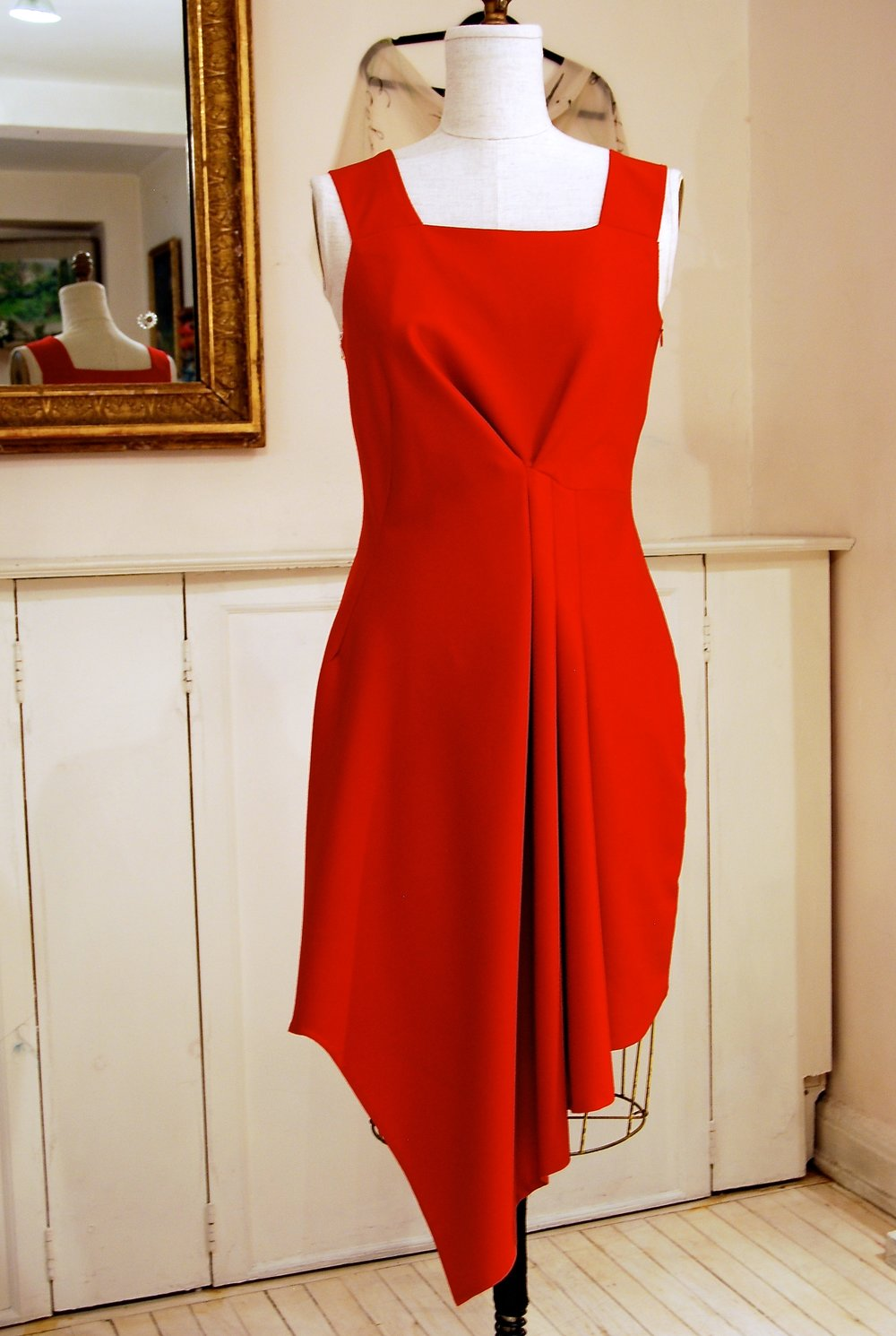 Red Wool Draped Dress with asymmetrical hem