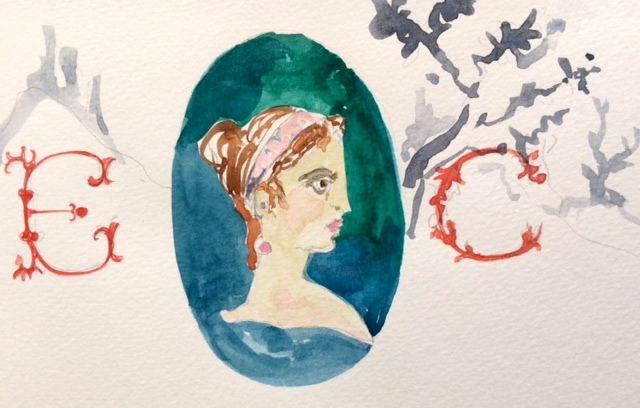 watercolor after a Pompeii fresco