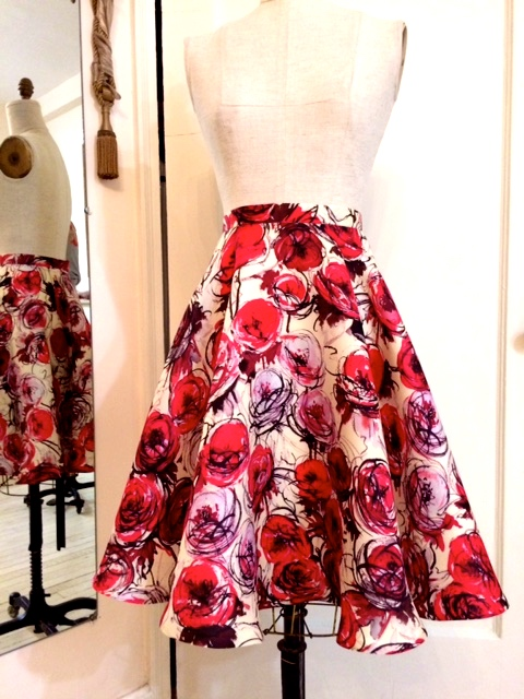 Red Flowers Silk Gazar Skirt for client