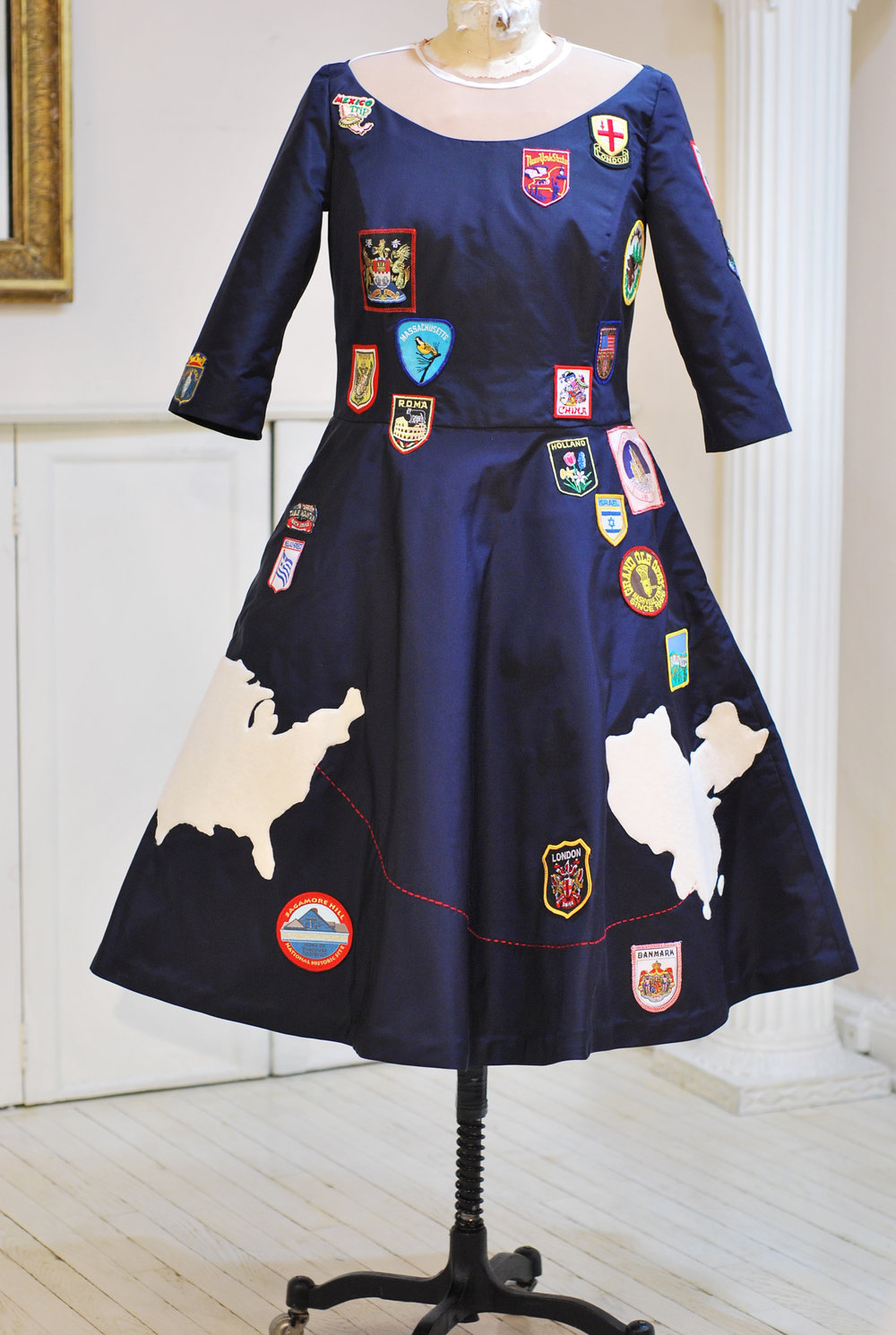 Navy Silk Faille with Travel patches and continents