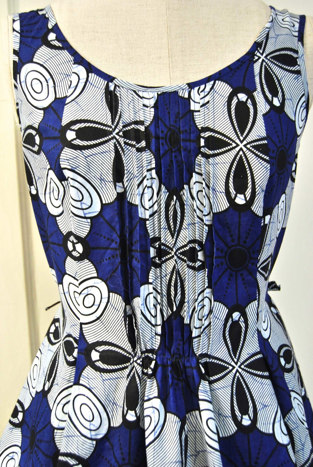 detail - cotton tuck dress
