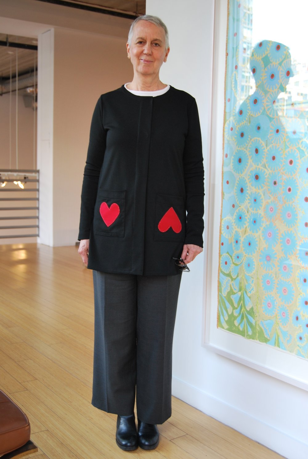 "Sique Spence wearing my ""Hearts"" Tunic and wool pants"