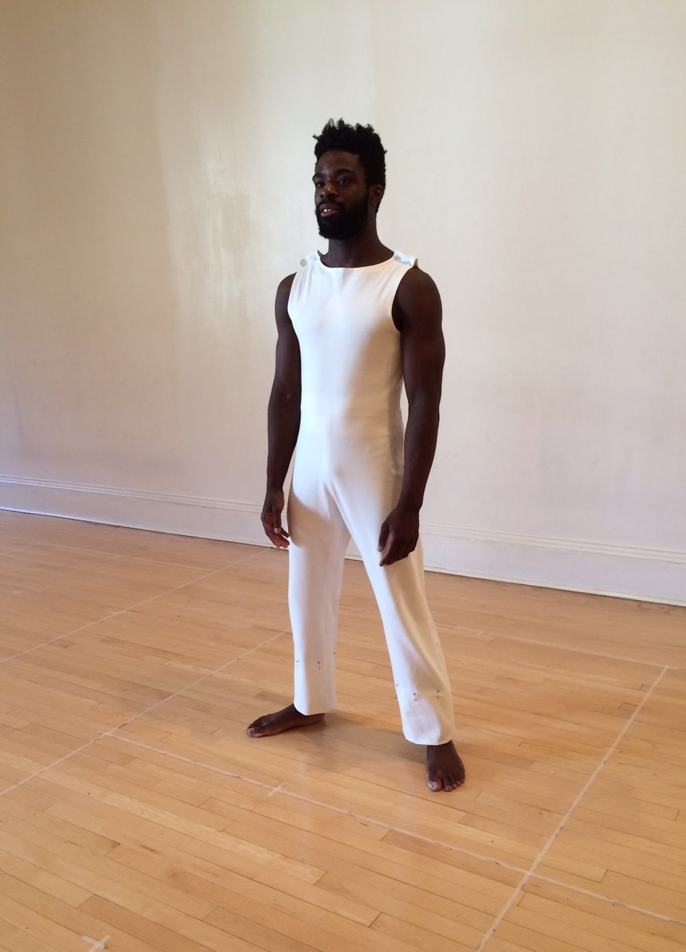 fitting in dance studio of Geometry of Quiet one-piece jumpsuit