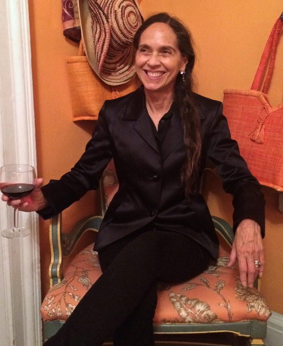 Artist Jill Levine in silk satin jacket