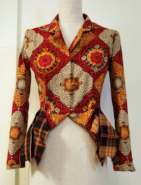 wax-print jacket with optional silk tartan bows