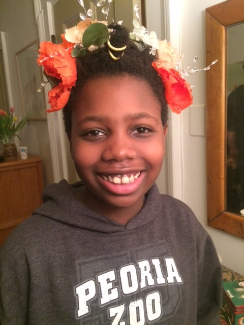 I met this bright young student on New Year's Eve who wanted to try on my flower crown-  Happy New Year everyone!  Let's try and stay positive!