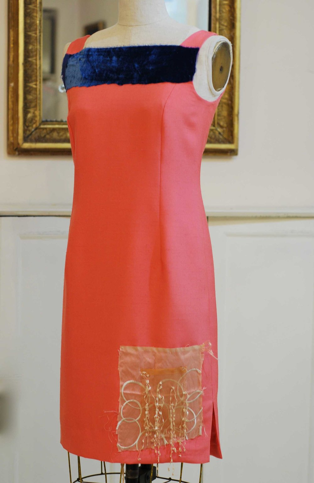 Coral silk Dupioni with silk velvet band and other fabrics
