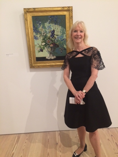 Barbara wore a dress of mine to the opening of her Grant wood show  it is silk Gazar with lace capelet sleeves