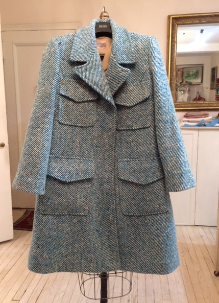 A client brought me some beautiful Irish Tweed that she bought in Ireland in the 60's - there was just enough to make this coat with only tiny scraps left over