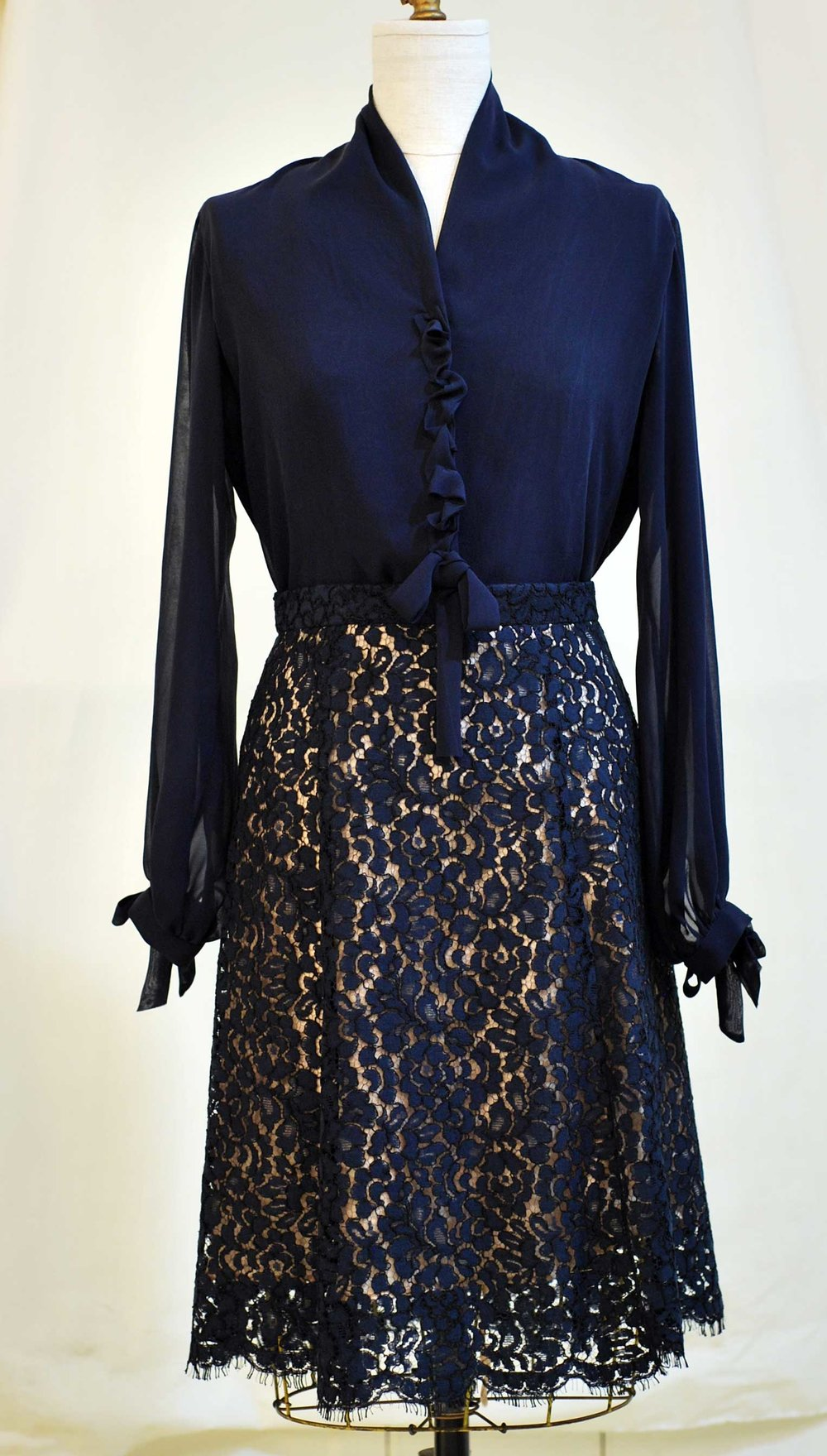 Navy silk chiffon blouse and Nave lace skirt