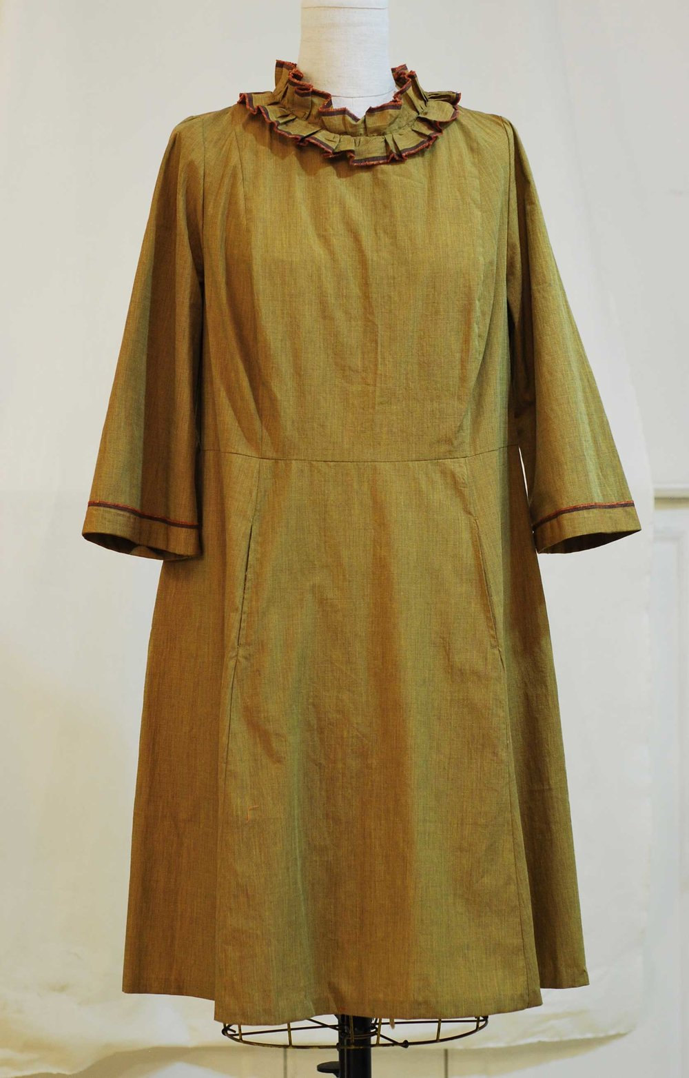 """Paperbag Dress"" in cotton with selvage edge trim- SOLD"