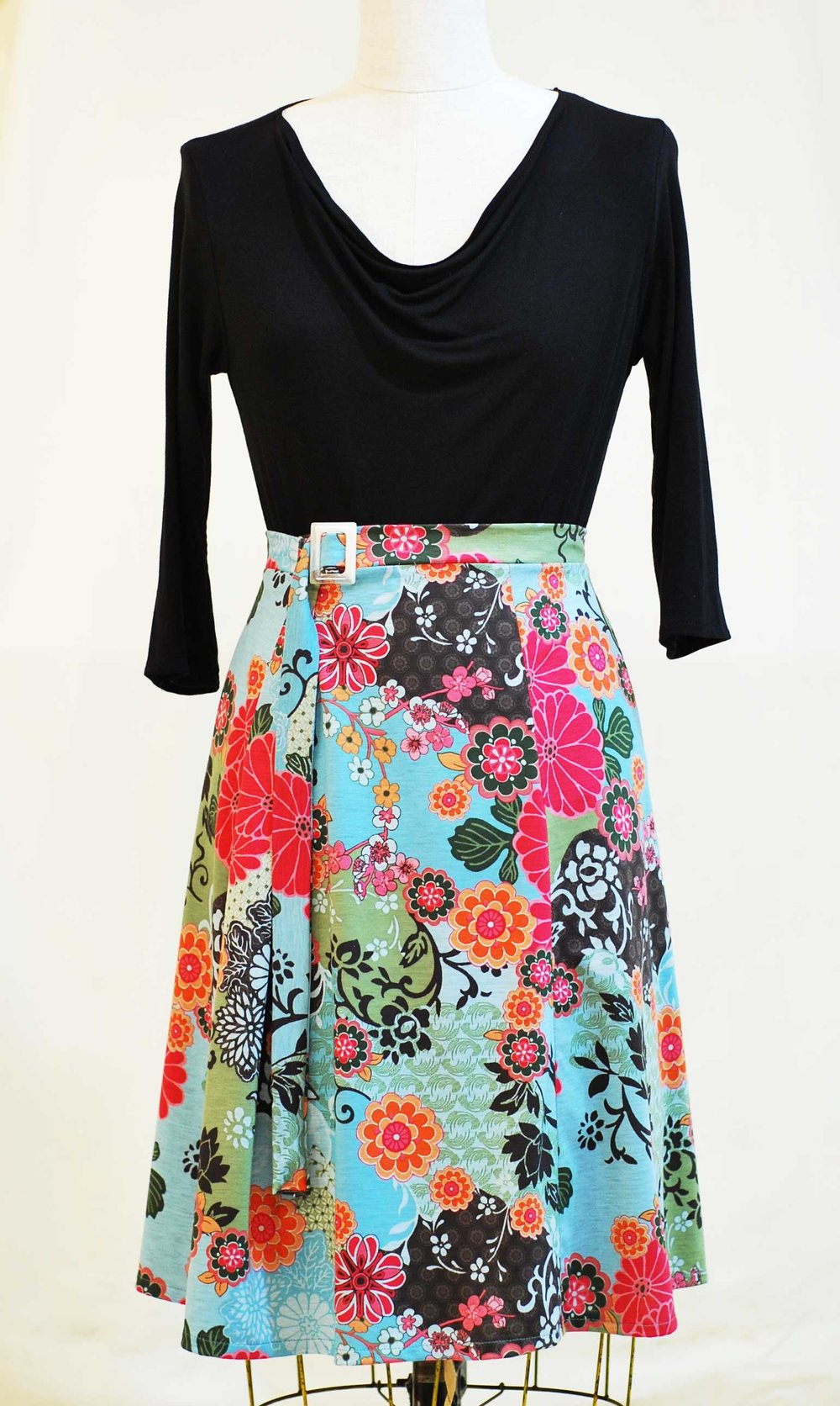 rayon knit drape neckline top and cotton print wrap skirt-  1 skirt  SOLD- 3 available  top sold - can be custom ordered