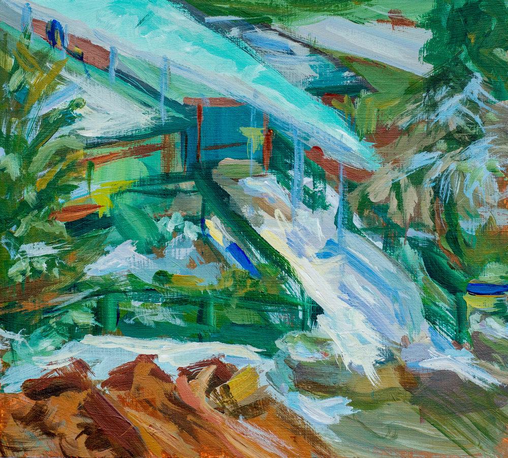 Uitzicht vanuit atelier op Papiermolenzwembad II