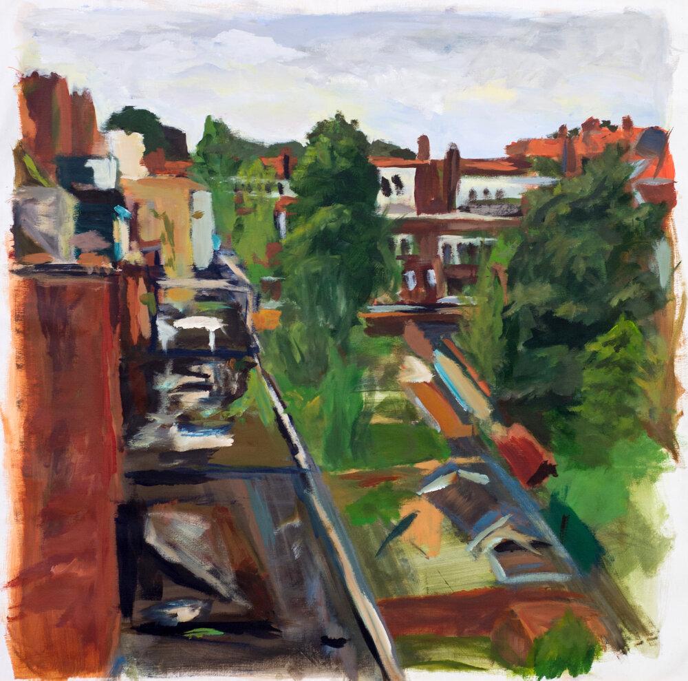 Binnentuinen Peizerweg gezien vanaf het dak