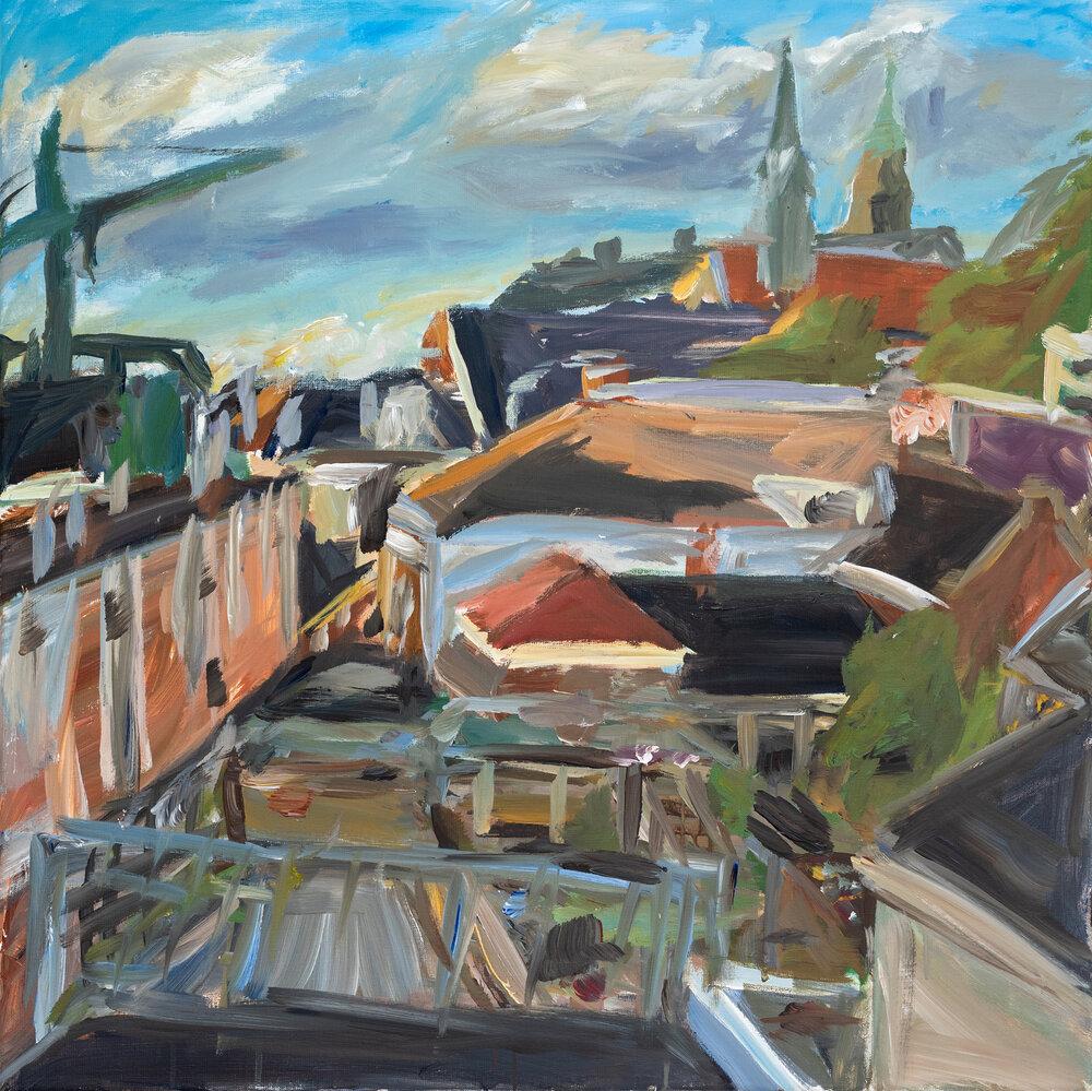 Daken en binnenplein van Groningen