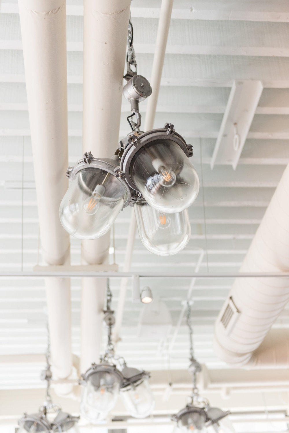 silver clustered industrial pendant lights