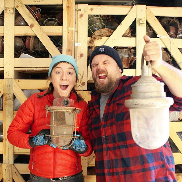 One of the happiest days of our lives was November 24, 2015. The day all of our research, pinching pennies, working multiple jobs, uneasy traveling, & awkward Russian business negations finally paid off🎉 Our 40ft. shipping container of vintage Soviet industrial light fixtures safely arrived at our warehouse after 45 days of transit from Moscow to Minneapolis. We had no idea what was in store for us 🙉 Not gonna lie, we've made up a lot of it as we go, but when there's no rule book for your business, you just have to bust your ass and trust that things will work out (if they're meant to). Was our idea crazy?  Yes.  Are we crazy?  Probably.  Do we love what we do?  Most days.  Would we do it all over again? Absolutely.  #oldlightsnewlife