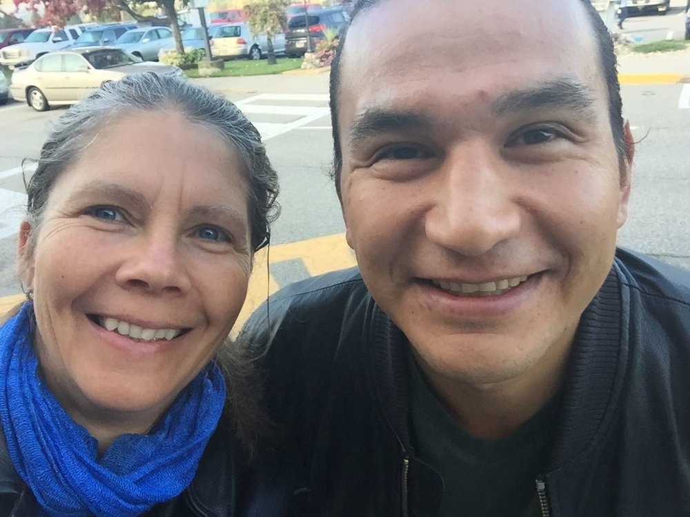 Theresa Southam with Wab Kinew, September 23, 2016. Wab was keynote for the Indigenous Youth Education Symposium at Selkirk College.