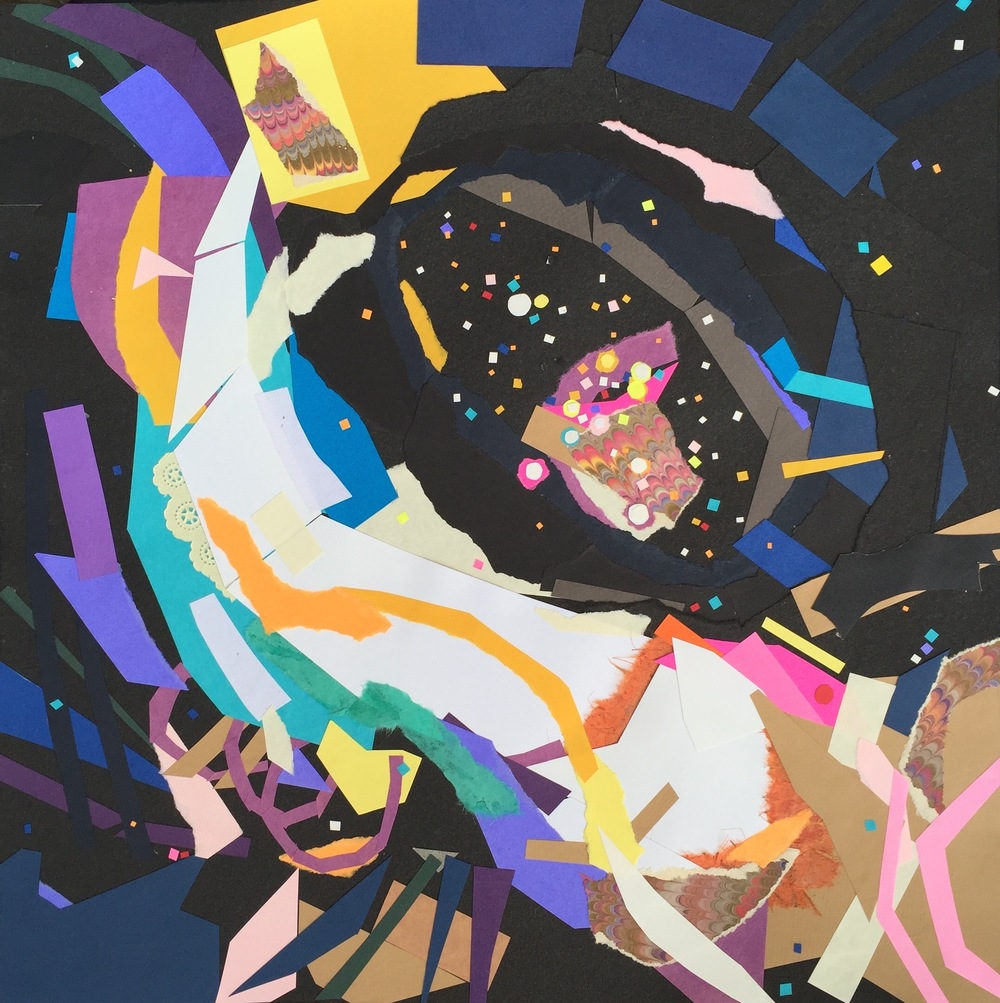 """Weird and Wonderful, a Galaxy,"" by Krista Dedrick Lai 15"" x 15"", Cut Paper and Glue"