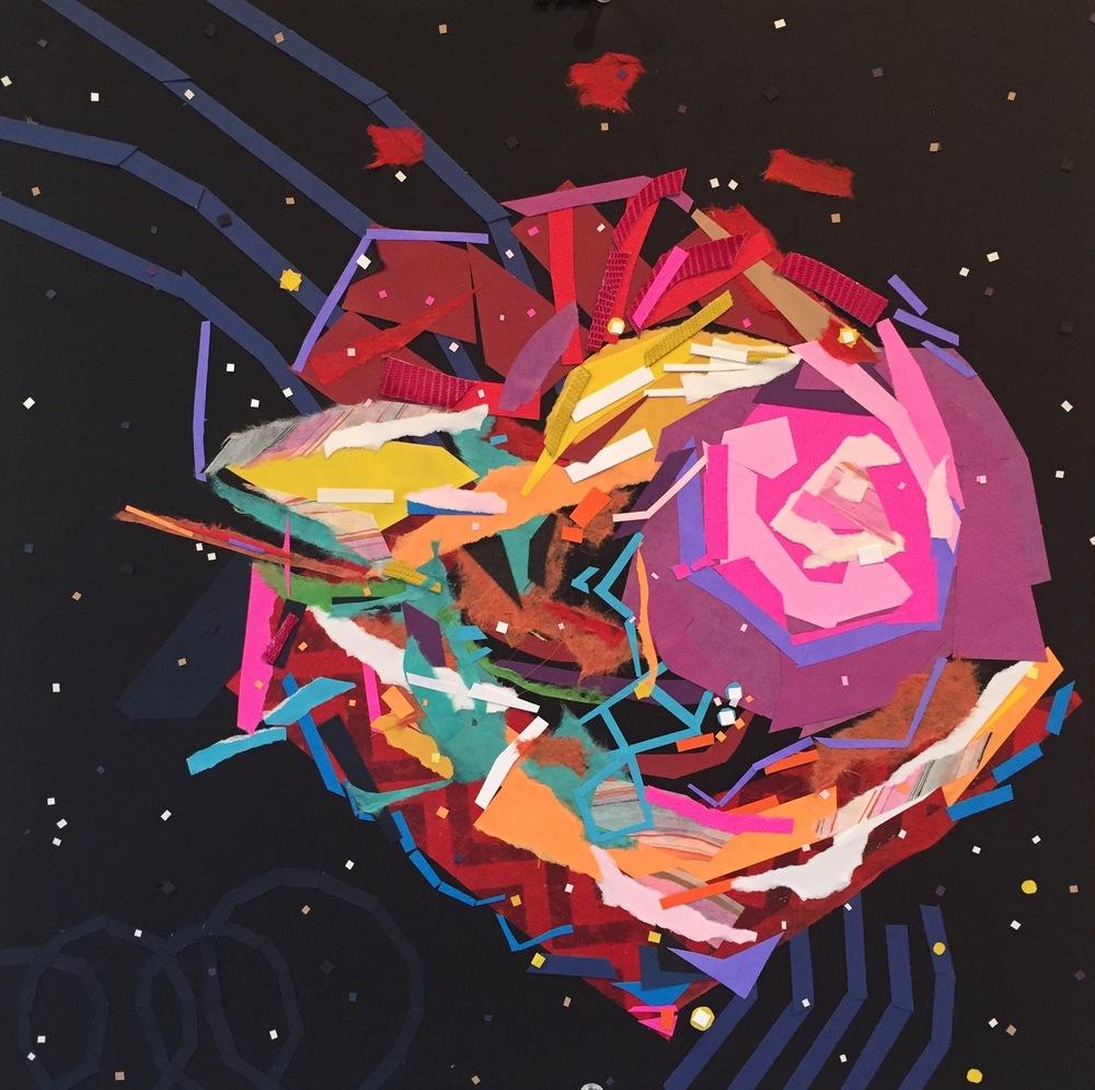 """Rainbow Nebula,"" by Krista Dedrick Lai, 15"" x 15"", Cut Paper, Mixed Media and glue"
