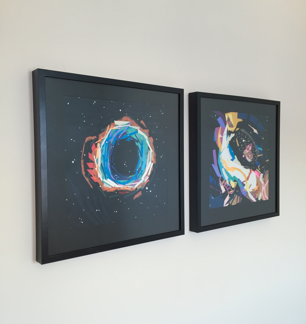 Two pieces from my Space series all framed up.