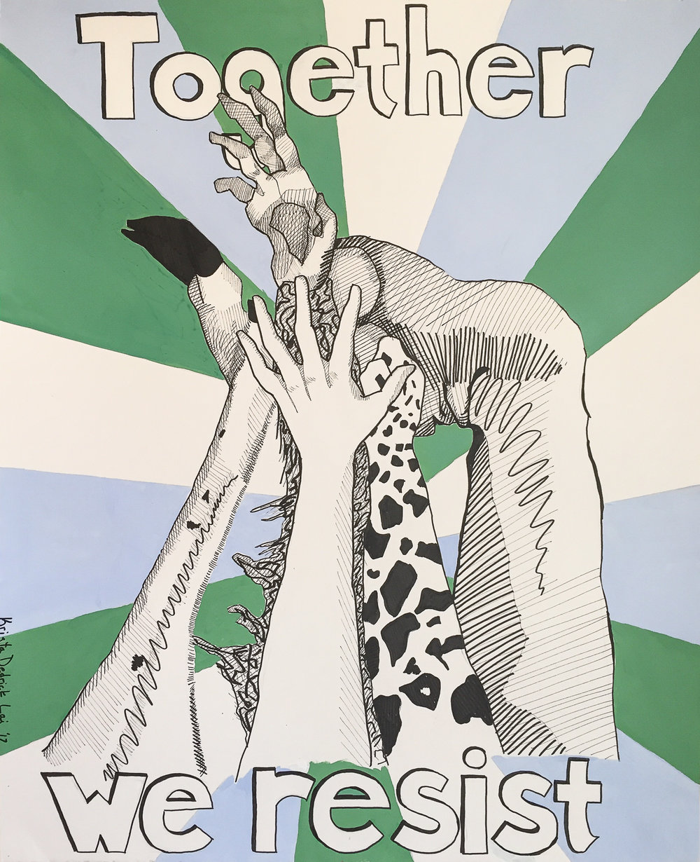 """Finished Climate March Sign, 18"""" x 20"""" ink and acrylic on heavy fine-art paper by Krista Dedrick Lai"""
