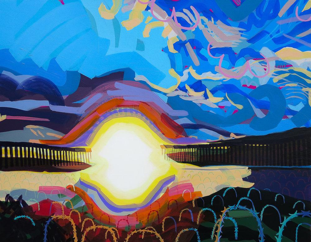 "American Landscape  28"" x 36"" acrylic on canvas, 2019"