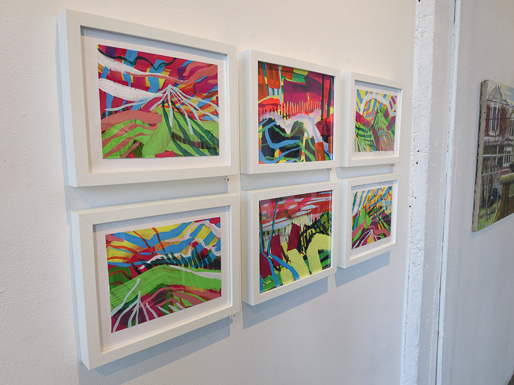 Installation photo of Krista Dedrick Lai's paintings from Outside In exhibit, 2018