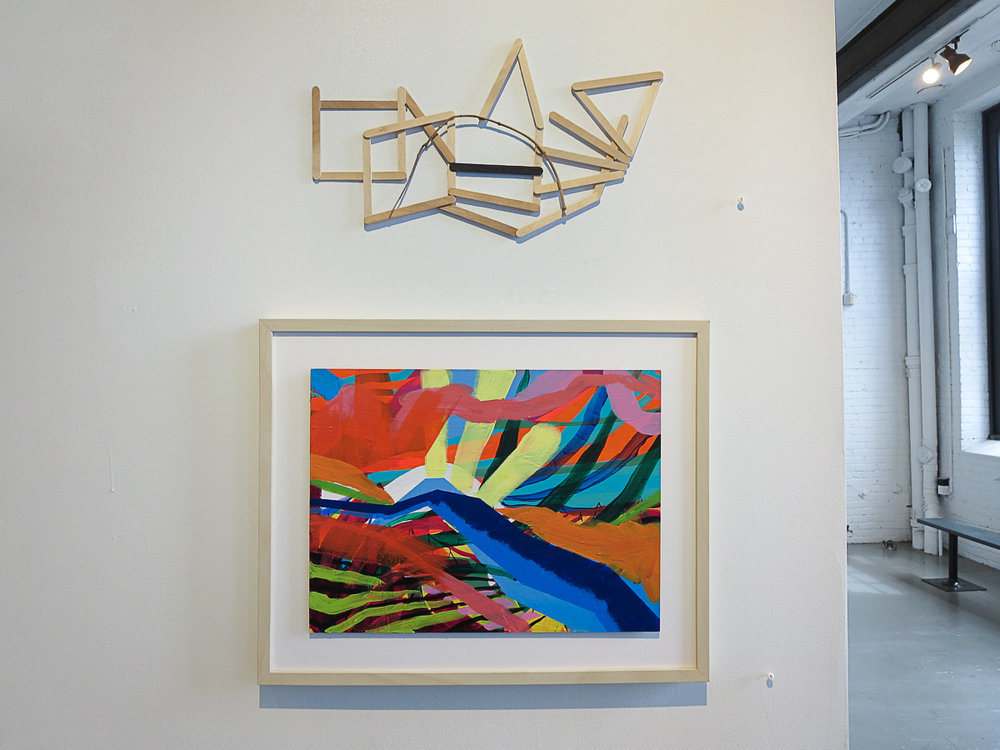 Installation photo of Krista Dedrick Lai's paintings from Outside In exhibit, 2018. (Also pictured: sculpture by Alice Gonglewski)