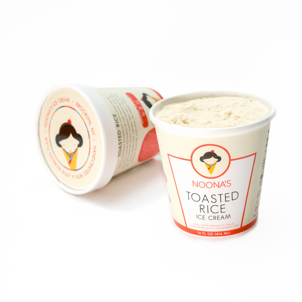TOASTED RICE  - Our signature flavor is inspired by our love of rice! Comforting and simply unique, we make this flavor by slowly toasting Korean brown rice and whole grains, and steeping them like a tea in our base of fresh sustainable dairy until the perfect point. The result? A smooth buttercream texture and a nutty flavor reminiscent of waffle cones and grandma's rice pudding.Inspiration: Noo-roong-ji (누룽지)Noo-roong-ji is a traditional Korean rice snack. The caramelized layer of crunchy rice that forms on the bottom of a pan of cooked rice.