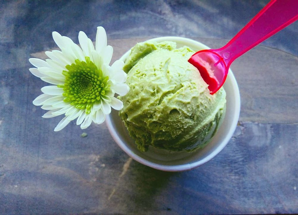 green tea ice cream - We use organic matcha (stone-ground green tea leaves) from the Uji region of Japan to make our Green Tea ice cream. Blended into our sweet cream, this flavor is earthy, lush and freshly-packed with powerful antioxidants*.*One serving size of our Green Tea contains 62 mg of caffeine.