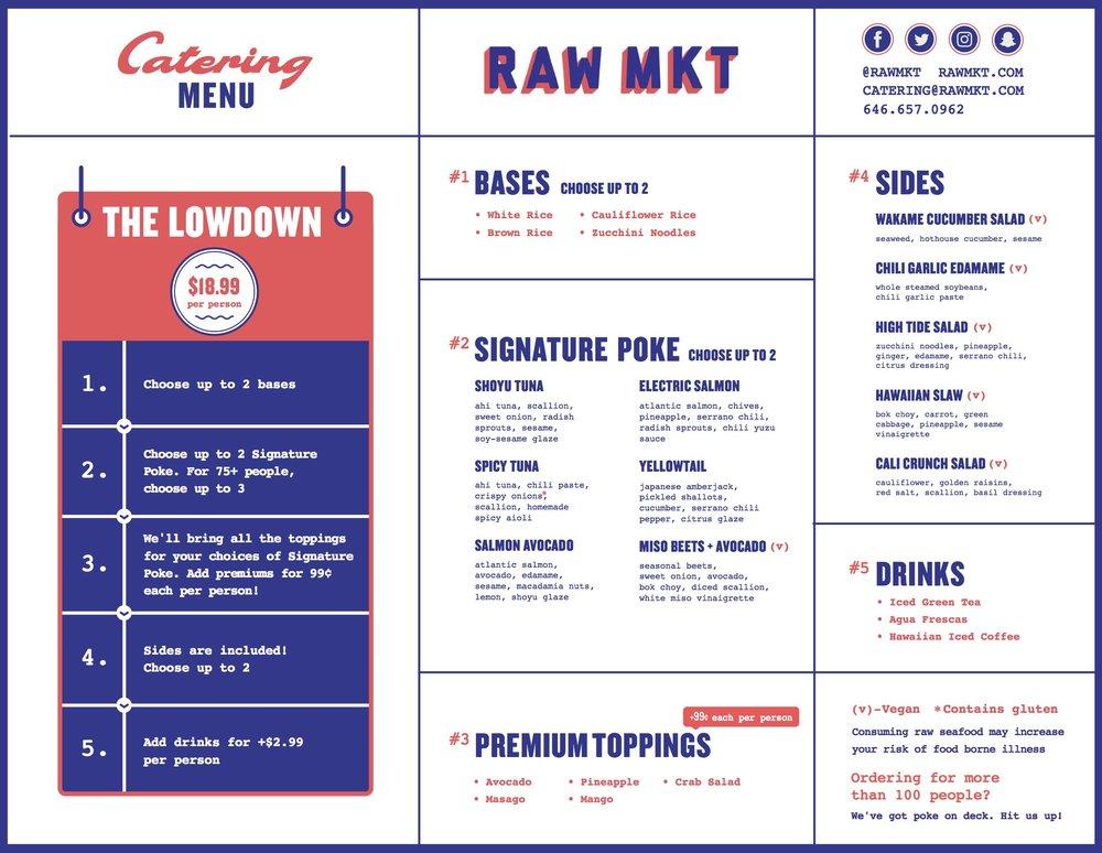 RAW MKT Catering Menu