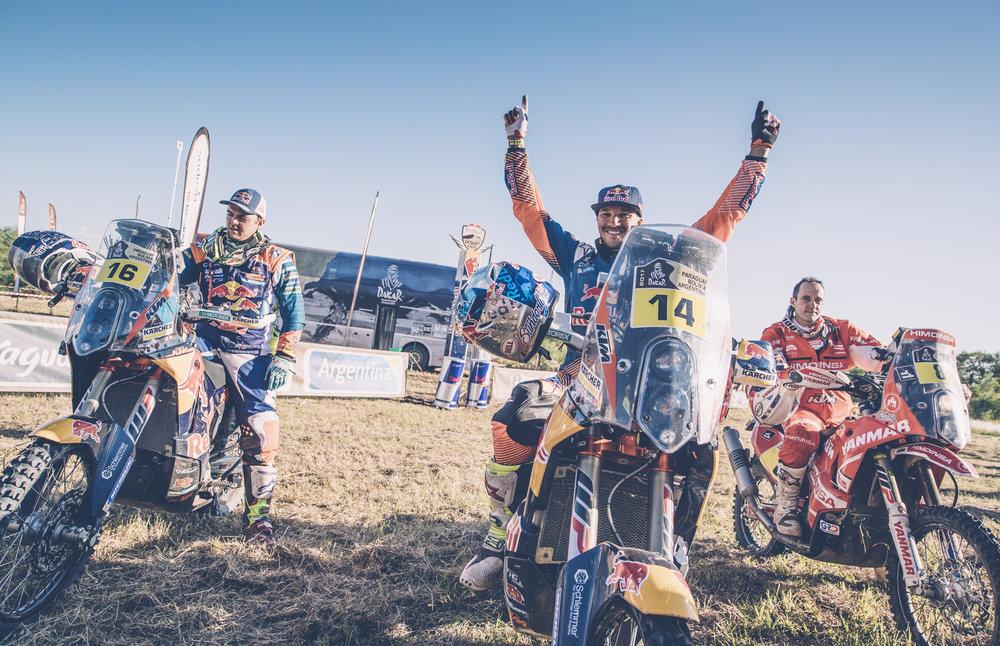 Matthias Walkner,  Sam Sunderland & Gerad Farres Guell KTM 450 RALLY Dakar 2017.jpg