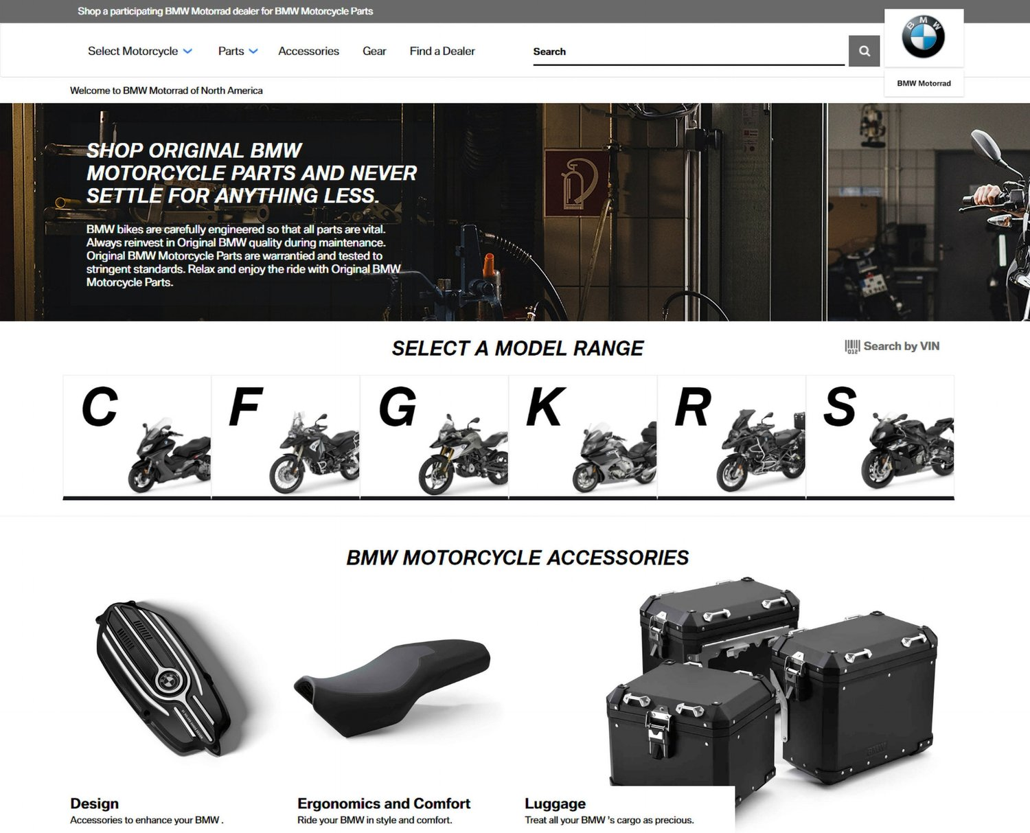 UPSHIFT BMW MOTORRAD USA LAUNCHES E-COMMERCE SITE FOR PARTS