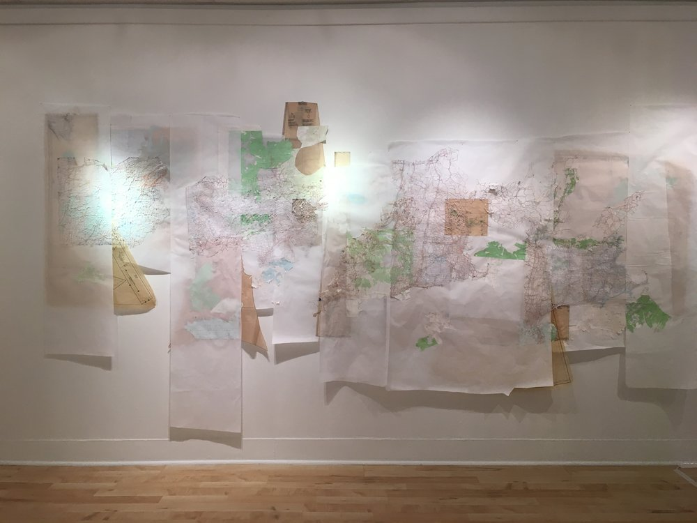 Re-imagined Landscape Michelle Daly, 2016 Hand-cut maps, vellum, ephemera, map pins, glue