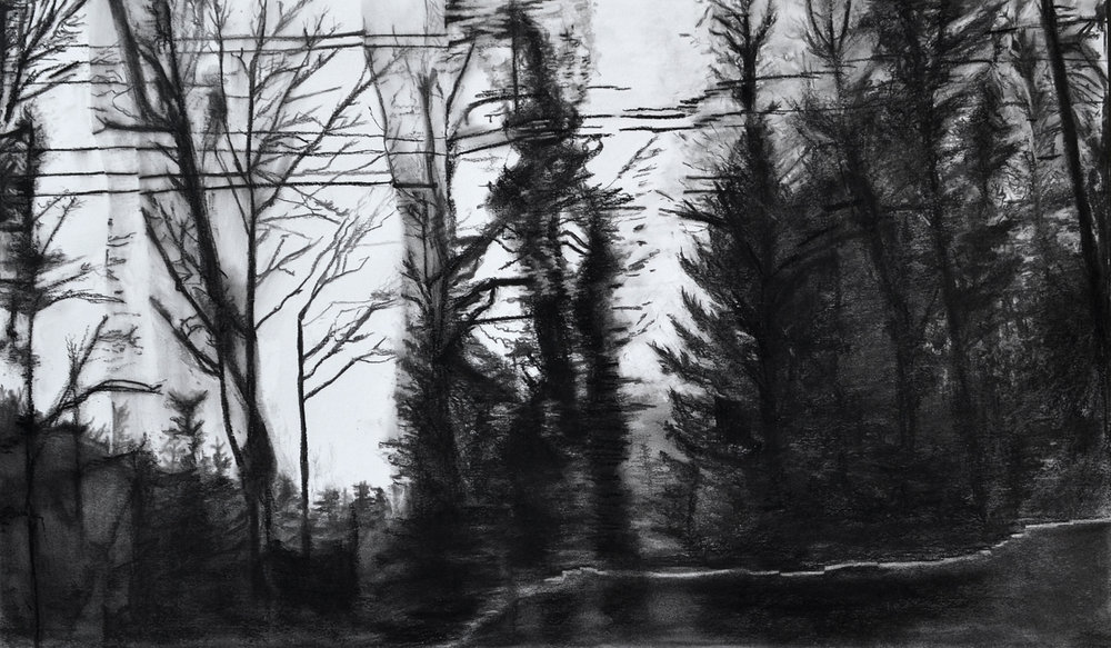 Skyline #2, charcoal on paper
