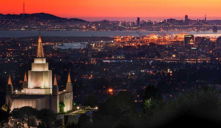 Sunset view from the Church of Jesus Christ of Latter-day Saints, Oakland hills