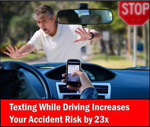 Did you know: Texting while #driving increases chances of #accident by 23X! #ruthstroup🚗 #Oakland #farmersagent #caraccident #textingfail #linkinmybio