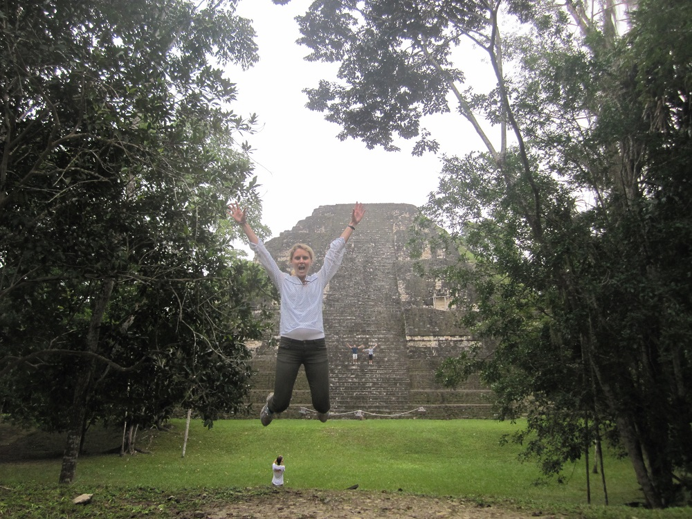 Jumping for joy at Tikal